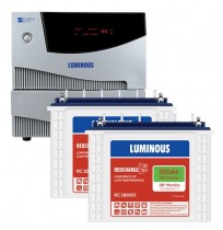 Luminous Cruze+ 2KVA Inverter with 2 x Luminous Red Charge RC18000 150AH Tall Tubular Battery