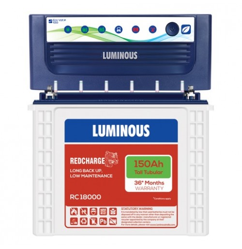 Luminous EcoVolt NEO 1050 Inverter with Luminous Red Charge RC18000 150AH Tall Tubular Battery