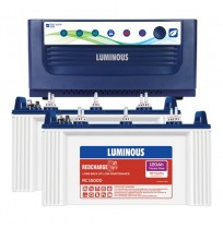 Luminous EcoVolt+ 1650 Inverter with 2 x Luminous Red Charge RC15000 120AH Tubular Battery