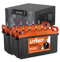 LivFast PowerStation 2KVA Inverter with 2 x 150AH Jumbo Tubular Batteries