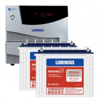 Luminous Cruze+ 2KVA Inverter with 2 x Luminous Red Charge RC25000 200AH Tall Tubular Battery